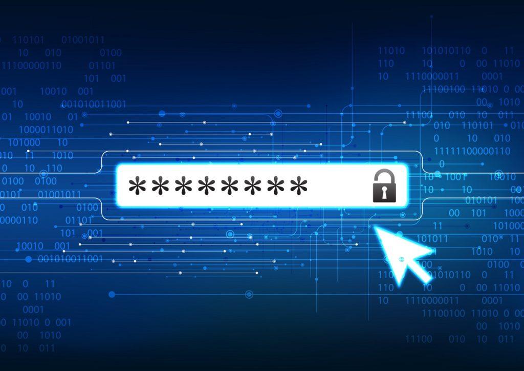 Pantalla de ordenador con contraseña encriptada