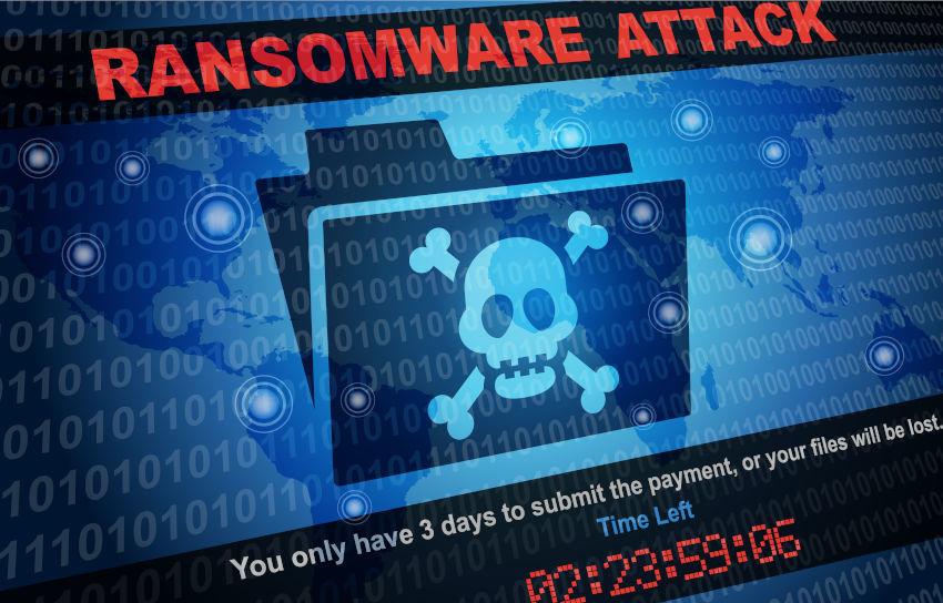 mensaje de ataque de ransomware en la pantalla de un ordenador