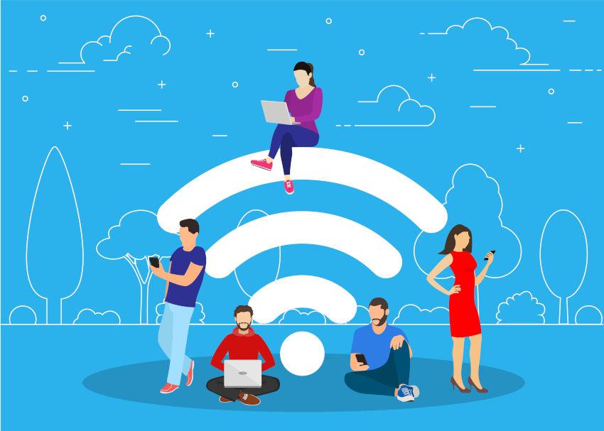 icono del wifi con ilustraciones de diferentes personas utilizando internet